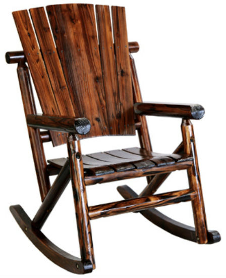 Char-Log™ TX93860 Solid Wooden Single Rocker, Rustic Look