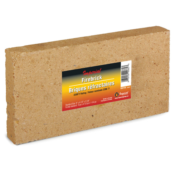 "Imperial KK0156 Fire Brick, 2200 F Rating, 9"" x 4-1/2"" x 1-1/4"", 6-Pack"