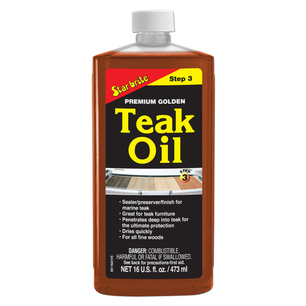 Star Brite 85116PW Premium Golden Teak Oil Sealer/Preserver/Finish,Step-3, 16 Oz