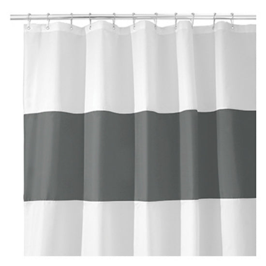 "InterDesign 26915 Charcoal & White Waterproof Fabric Shower Curtain, 72"" x 72"""