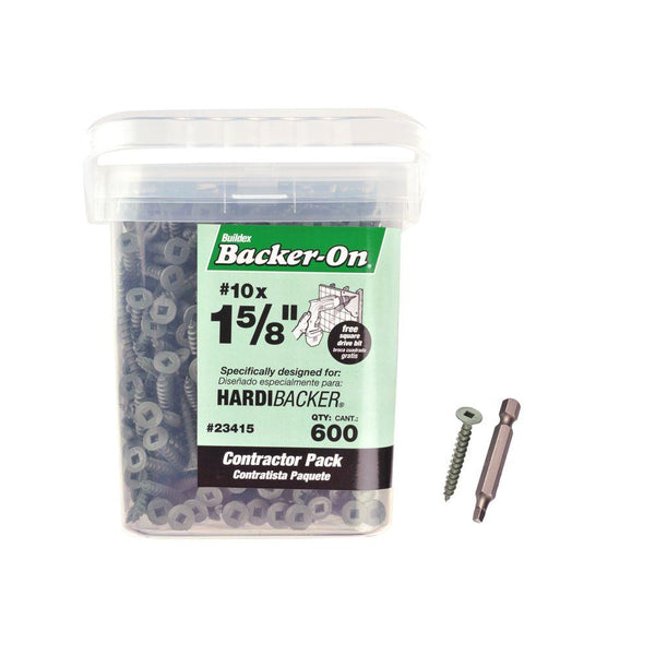 "Backer-On® 23415 Flat-Head Square Cement Board Screws, #10 x 1-5/8"", 600-Count"
