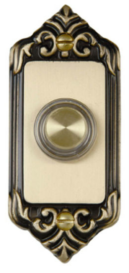Carlon® DH1665L Door Chime Push Button with Lighted LED Rim, Solid Brass