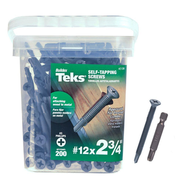 "Teks® 21386 Phillips Flat-Head Self-Tapping Screw w/Wing, #12 x 2-3/4"", 200-Ct"