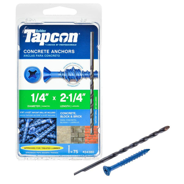 "Tapcon® 24380 Phillips Flat-Head Concrete Anchors, 1/4"" x 2-1/4"", 75-Count"