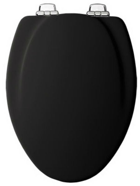 Mayfair 130CHSL-047 Elongated Molded Wood Toilet Seat with Chrome Hinges, Black