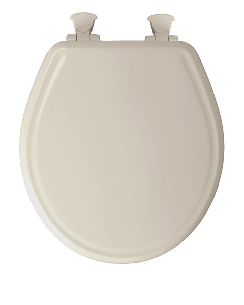 Mayfair 48SLOW-346 Round Molded Wooden Toilet Seat w/ Easy-Clean Hinges, Biscuit
