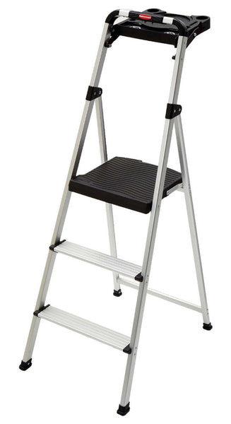 Rubbermaid® RM-SLA3-T 3-Step Aluminum Stool with Project Tray, 225 Lb Capacity