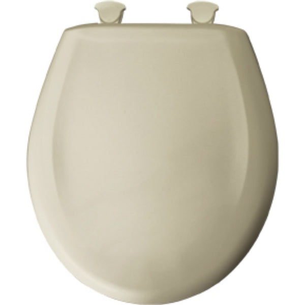 Mayfair 48SLOW-006 Round Molded Wooden Toilet Seat, Easy-Clean Hinges, Bone