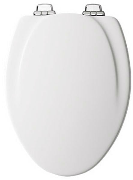 Mayfair 130CHSL-000 Elongated Molded Wood Toilet Seat with Chrome Hinges, White