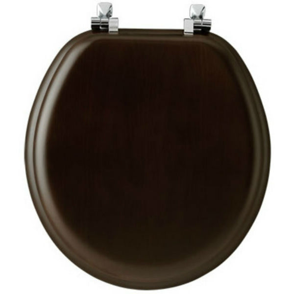Mayfair 9601CP-888 Round Wood Veneer Toilet Seat with Chrome Hinges, Walnut