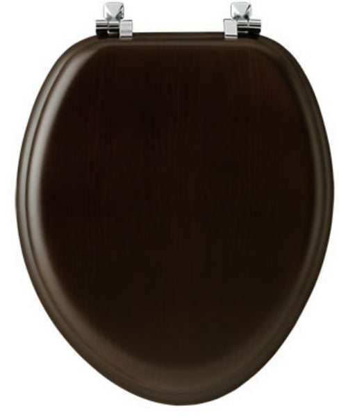 Mayfair 19601CP-888 Elongated Wood Veneer Toilet Seat w/ Chrome Hinges, Walnut