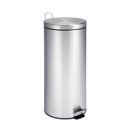 Honey-Can-Do TRS-02110 Round Stainless Steel Step Trash Can w/Liner, 30 Liter