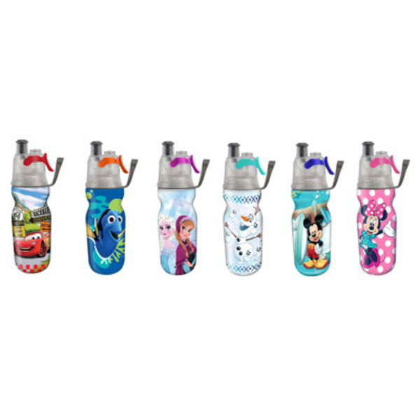 O2-Cool HMCMA01 Kids Disney Mist-N-Sip Water Bottle, 12-Oz, Assorted Colors