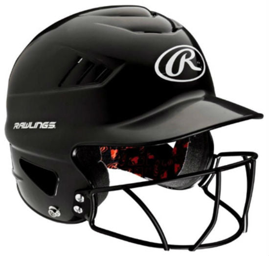Rawlings® RCFHFG-B Batting Helmet with Baseball Mask, Black