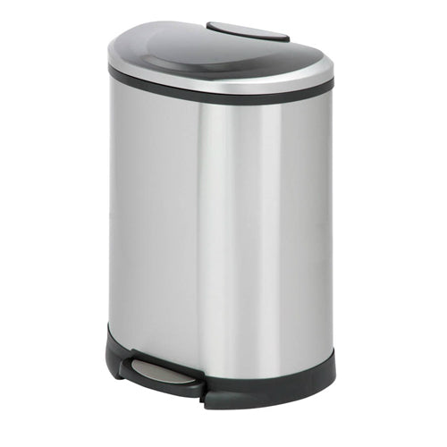 Honey-Can-Do TRS-05306 Stainless Steel Half-Moon Step Trash Can, 50 Liter