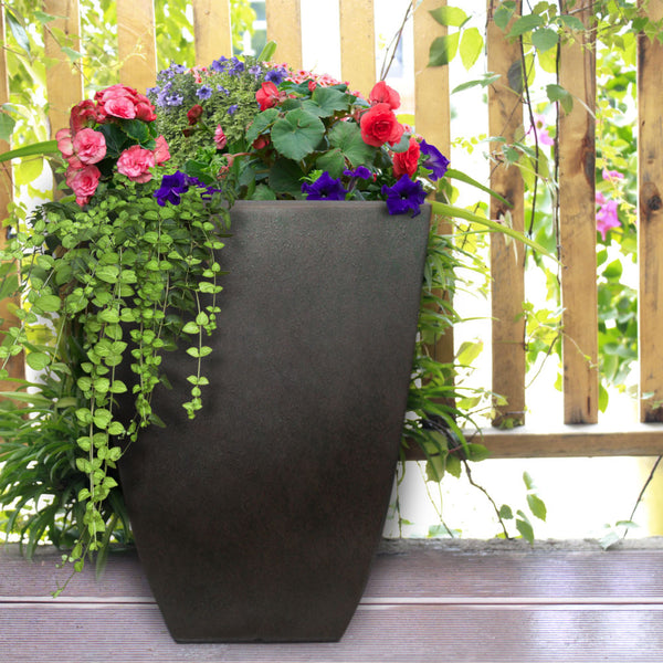 Southern Patio® HDR-019268 Newland Square Planter, Coffee, 10.5""