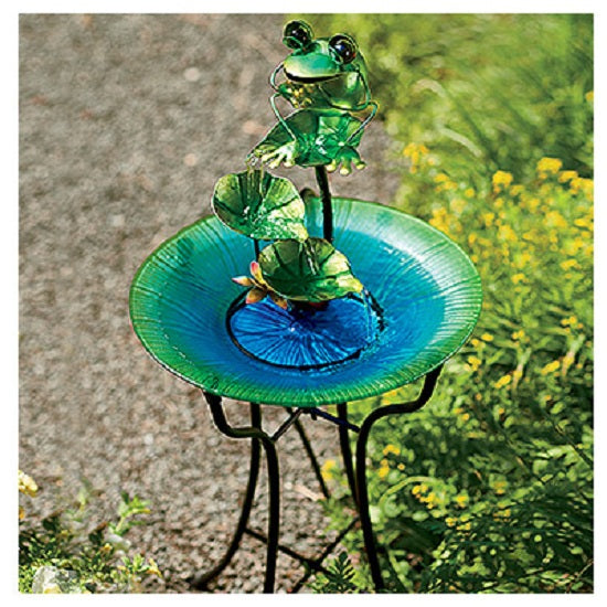 CTM LH40481 Glass & Metal Bird Bath with Frog Fountain, 15""