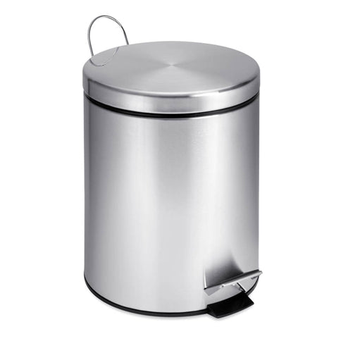 Honey-Can-Do TRS-01449 Round Stainless Steel Step Trash Can, 5 Liter/1.3 Gallon