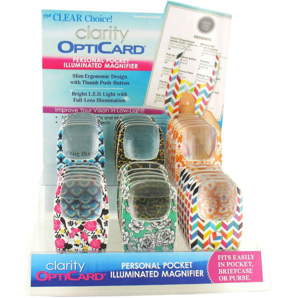 Clarity OptiCard® CLOPT36 Personal Pocket Illuminated Magnifier, Assorted Color