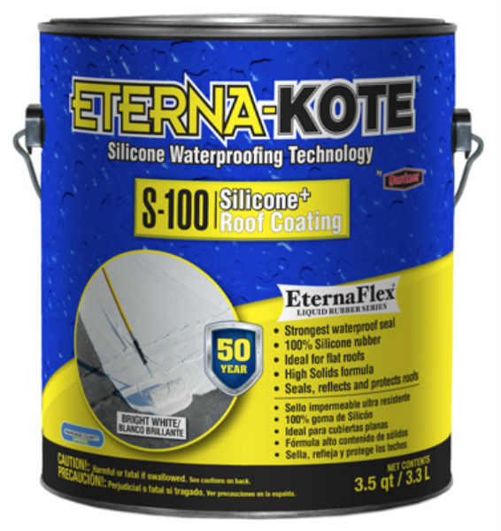 Eterna-Kote® 5570-1-20 S-100 Silicone+ Roof Coating, White, 1-Gallon