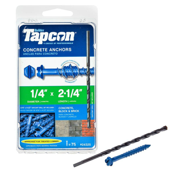 "Tapcon® 24325 Hex Washer Head Tapcon Concrete Anchors, 1/4"" x 2-1/4"", 75-Pack"