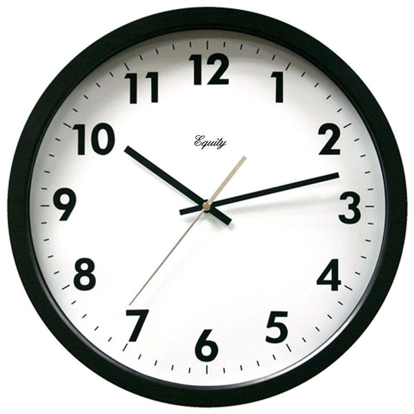 Equity® 25509 Commercial Analog Wall Clock with Black Case & White Dial, 14""
