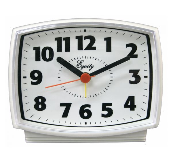 Equity® 33100 Electric Analog Alarm Clock with White Case & Lighted Dial
