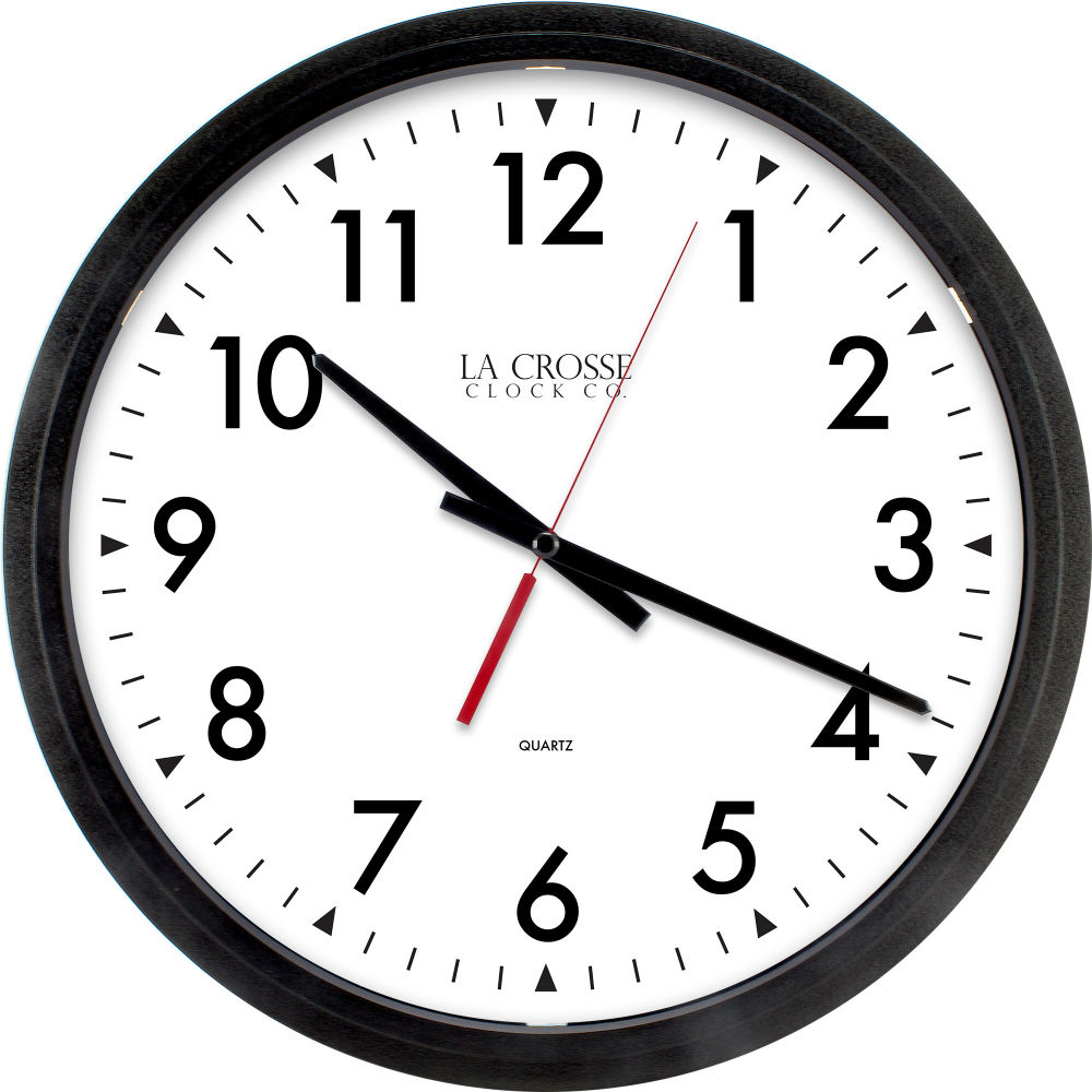 La Crosse® 404-2636 Quartz Movement Commercial Round Wall Clock, Black, 14""