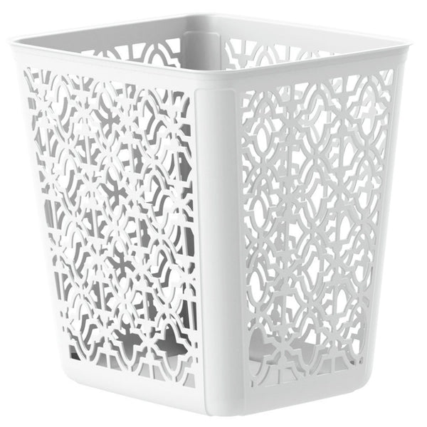 United Solutions® SR0351 Trellis Pattern Wastebasket Can, 4-Gallon, White