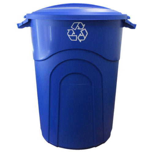 United Solutions® TI0028 Recycle Injection Molded Trash Can, 32 Gallon, Blue