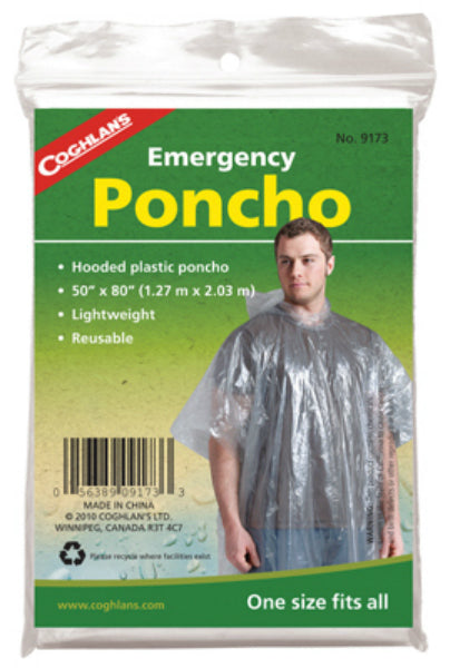 Coghlan's 9173 Lightweight Emergency Poncho, Clear