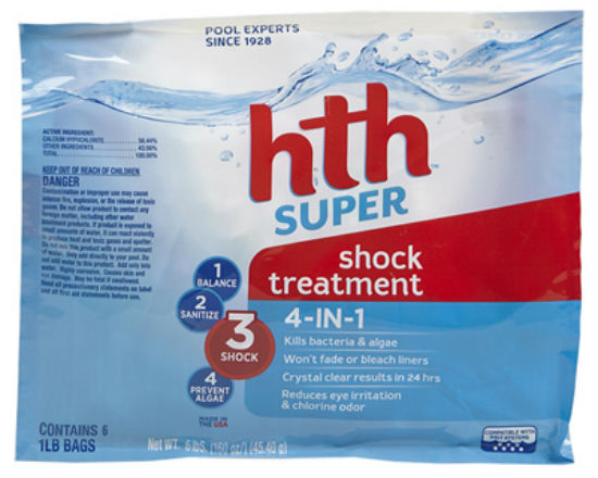 HTH® 52008 Super Shock Treatment Bag, 1 Lbs, 6-Pack