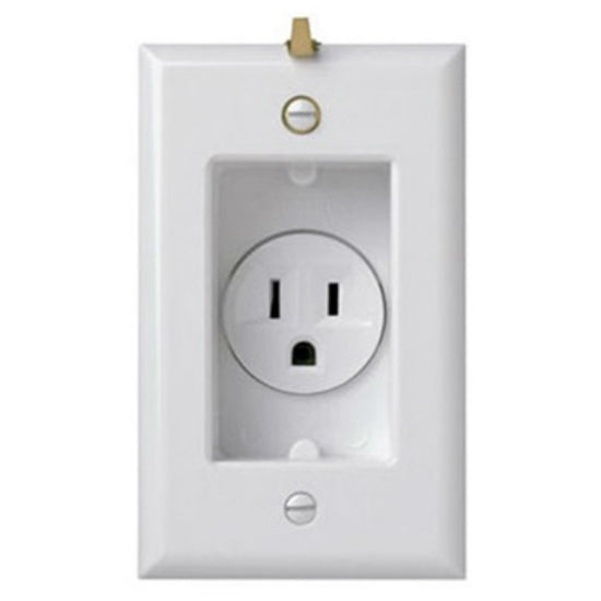 Pass & Seymour® S3713W Clock Hanger Receptacles w/ Smooth Wall Plate, 15A, 125V
