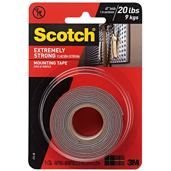"Scotch 414P Extreme Strong Mounting Tape, 1"" x 60"", Red"