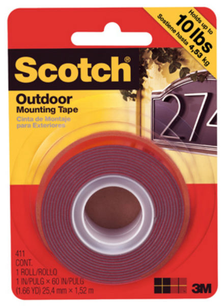 "Scotch 411P Outdoor Mounting Double Sided Tape, 1"" x 60"",Black"