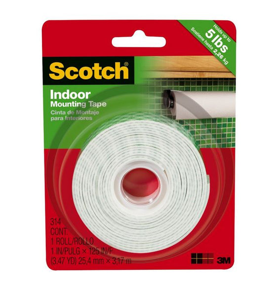 "Scotch 314/DC Heavy Duty Indoor Mounting Tape, 1"" x 125"", White"