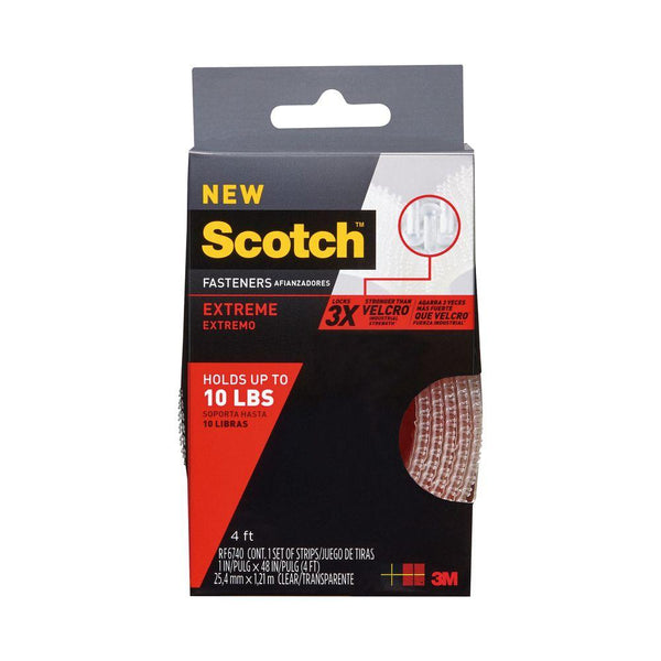 "Scotch™ RF6740 Extreme Fasteners, Clear, 1"" x 4'"