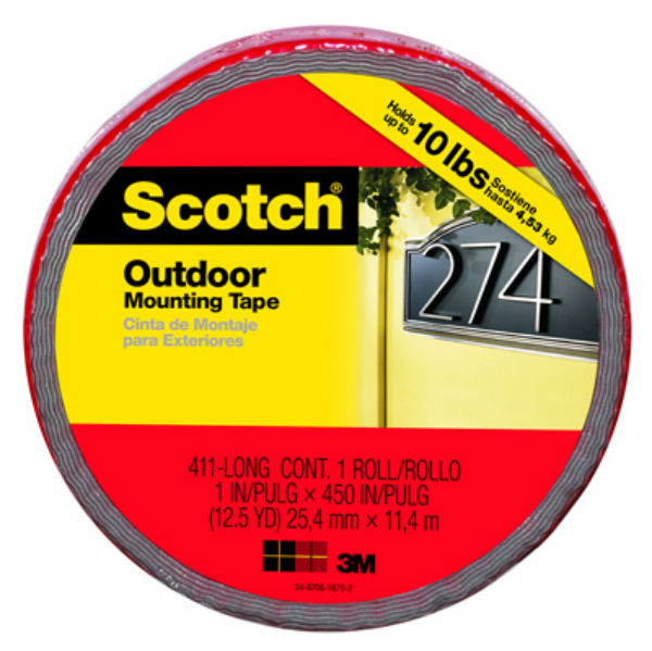 "Scotch® 411-LONG/DC Outdoor Mounting Double Sided Tape, 1"" x 450"""