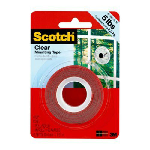 "Scotch® 410P Mounting Tape, 1"" x 60"", Clear"