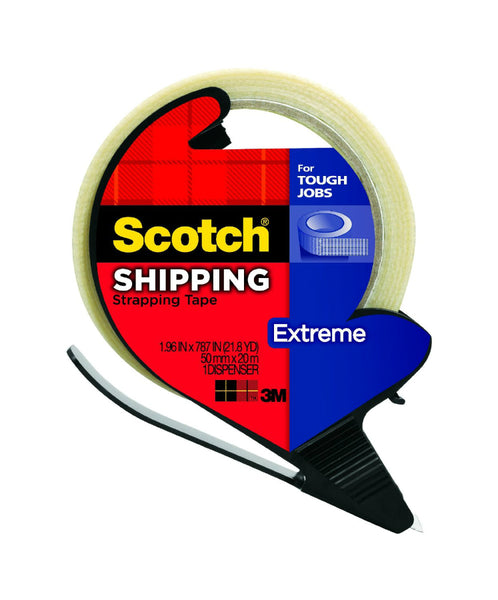 "Scotch® 8959-RD Extreme Shipping Strapping Tape with Dispenser, 1.9"" x 21 Yd"