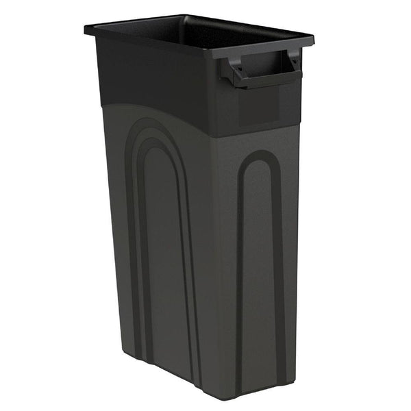 United Solutions® TI0032 High-Boy Slim Line Waste Container, Black, 23-Gallon