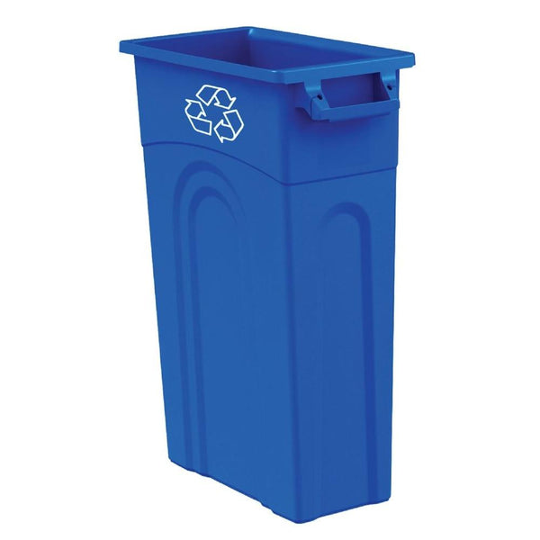 United Solutions® TI0033 High-Boy Slim Line Waste Container, 23 Gallon, Blue