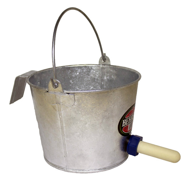 Behrens 8NP Calf Nipple Pail with Bracket & Bail, 8 Qt, Hot Dipped Steel