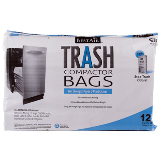 "BestAir WMCK1335012-6 Paper Trash Compactor Bag, 9"" x 17"" x 15"", 12-Pack"