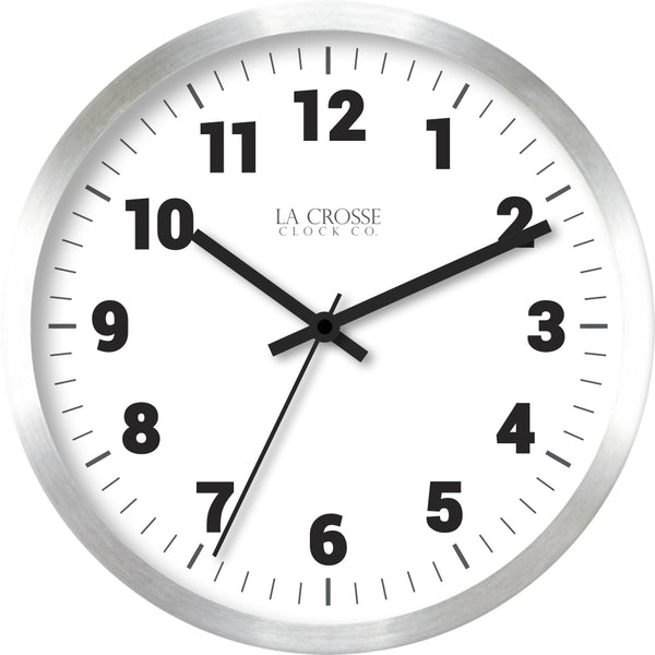 La Crosse® 404-2626  Quartz Movement Metal Wall Clock, Brushed Silver, 10""