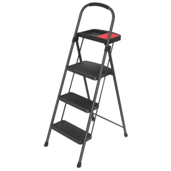 Rubbermaid® RMS-3T 3-Step Steel Stool w/Project Tray, Aluminum, 225 Lbs Capacity