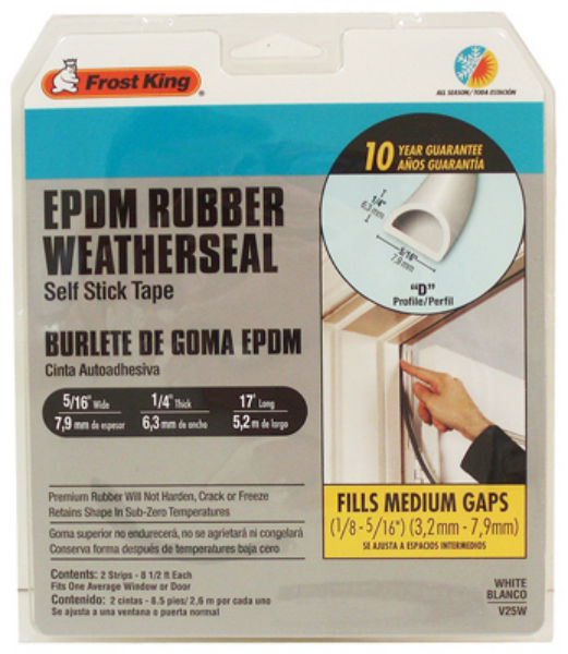 Frost King® V25BK EPDM Rubber Weatherseal Self Stick Tape, Black, D-Section