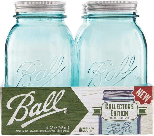 Ball 1440069055 Collection Elite Regular Mouth Mason Jar, 1-Qt, Blue, 4-Pack