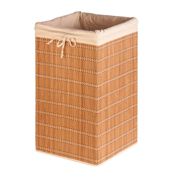 Honey-Can-Do HMP-01620 Square Wicker Bamboo Laundry Hamper with Liner, 25""