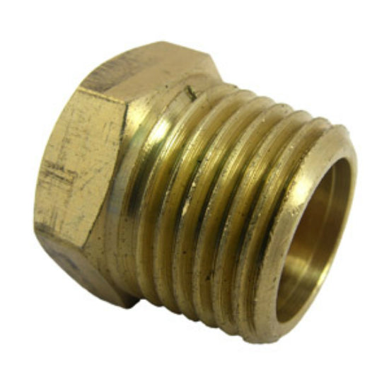"Lasco 17-9169 Brass Hex Head Plug, 1/2"" Male Pipe Thread"
